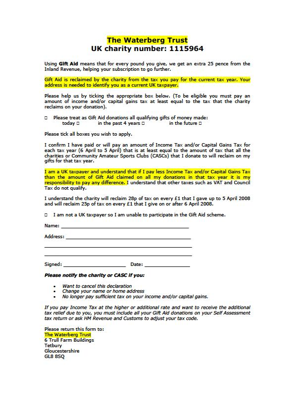 The Waterberg Trust Gift Aid form