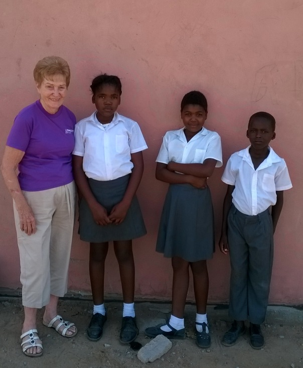 Marilyn Cook with some of the kids
