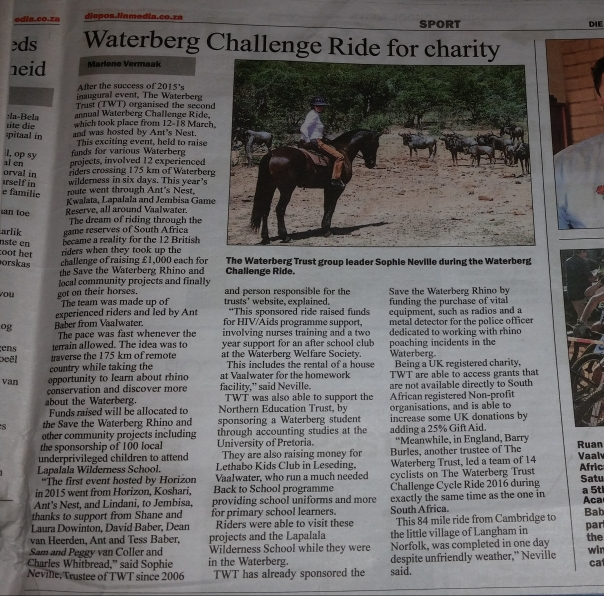 Author Sophie Neville in South African newspaper