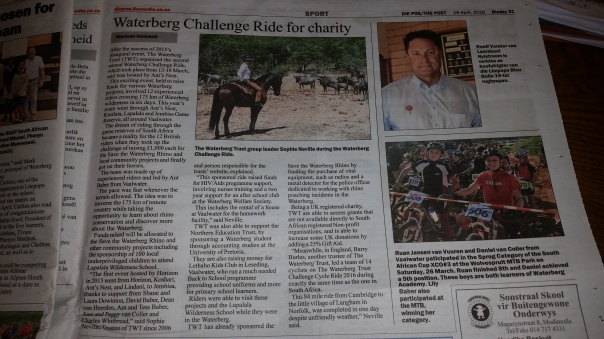 TWT Ride 2016 newspaper article in The Post