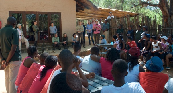 Explaining how TWT Riders raised funds to send pupils to Lapalala Wilderness School