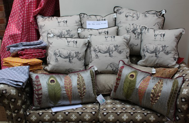 A selection of Jardine Moore cushions for sale in aid of TWT