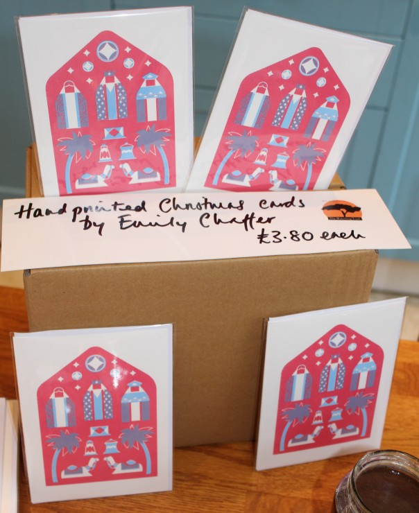 Emily Chaffer's handprinted cards for TWT