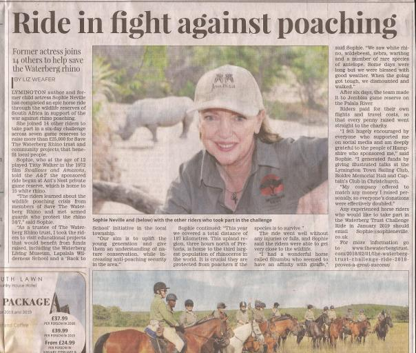 Author Sophie Neville in the Lymington Times newspaper