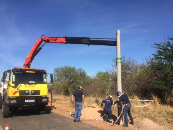 lorry planting STWR camera poles